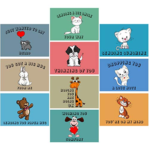 30 Pieces Thinking of You Greeting Cards Assortment, Miss You Cards with Envelopes Friendship Blank Greeting Cards for All Occasions, 10 Designs (Animal Style)