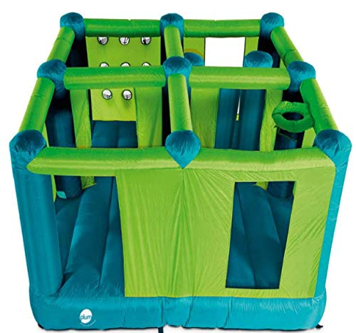 Bouncy Castle Plum Multi-Room (3+ Years) Outdoor Bouncy Inflatables With Storage Bag And Quick Speed Blower Jump, Four Enclosed Rooms with Basketball Hoop & Inflatable Pillars,