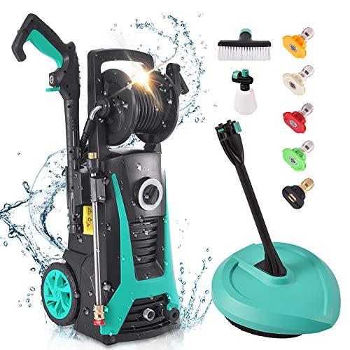 Hidrolimpiadora, LTPAG Limpiador de alta presión (135 bar, 1800 W, 480 L/h, manguera de alta presión de 5 m, cable de 5 m), 3 tipos de boquillas para coches, vallas, patios,suelo,limpieza de jardines