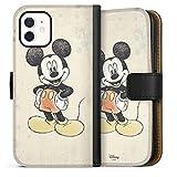 DeinDesign Klapphülle kompatibel mit Apple iPhone 12 Mini Handyhülle aus Leder schwarz Flip Hülle Offizielles Lizenzprodukt Disney Maus