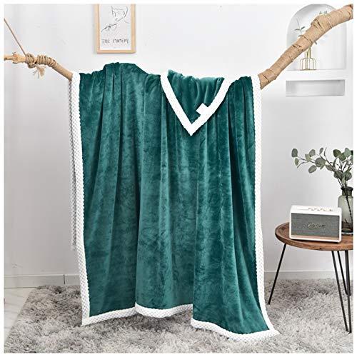 Wyhgry Microfaser Decke,Flauschig Weich und Angenehm Warm Überwurf Sofadecke 100% Polyesterfas (Color : Green, Size : 2.0mx2.3m)