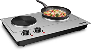 CUSIMAX 1800W Double Hot Plate, Stainless Steel Silver Countertop Burner Portable Electric Double Burners Electric Cast Ir...