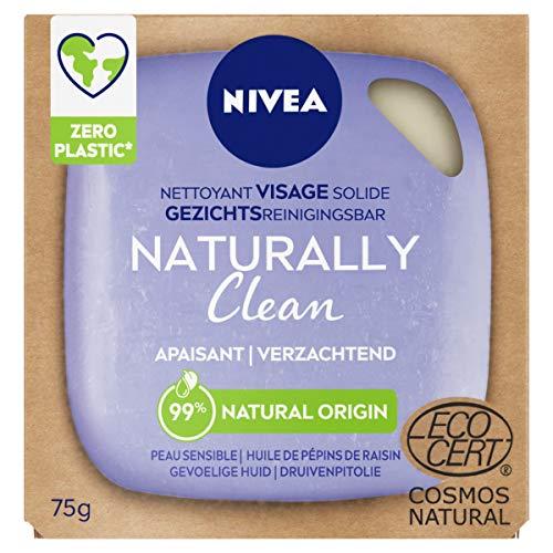 NIVEA NATURALLY Clean Nettoyant Visage Solide Apaisant (1 x 75 g), Soin visage nettoyant sans savon ni parfum, Nettoyant solide au PH neutre pour la peau