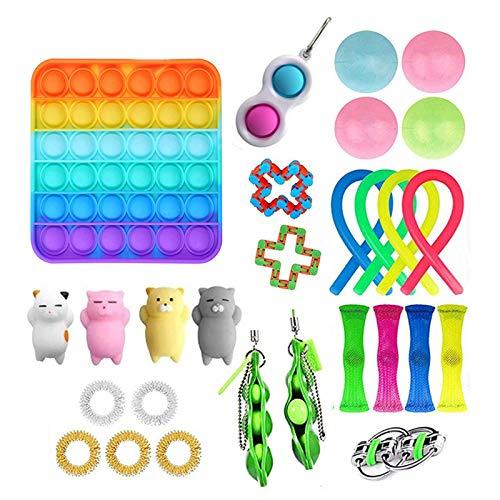 VELIHOME Conjunto de 26 peças Fidget Pack Fidget de Brinquedo Arco-íris com Simples Alívio de Estresse e Ansiedade