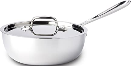 All-Clad 4213 Stainless Steel Tri-Ply Bonded Dishwasher Safe Saucier Pan with Lid / Cookware, 3-Quart, Silver - 8701004406