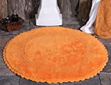 Saffron Fabs Bath Rug Cotton 36 Inch Round, Reversible - Different Pattern On Both Sides, Orange, Hand Knitted Crochet Lace Border, Machine Washable