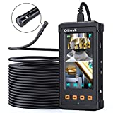 50FT Dual Lens Endoscope, Oiiwak Industrial Borescope Plumbing Camera Pipe Drain Camera Scope Camera Duct Inspection Sewer Camera 1080P with Light Waterproof 4.3'' Screen(15m)