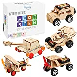 5 in 1 STEM Kit, Wooden Mechanical Model Cars Kits, Motorized Construction Engineering Set, Assembly Constructor 3D Building Puzzles, Educational DIY STEM Toys for Boys and Girls