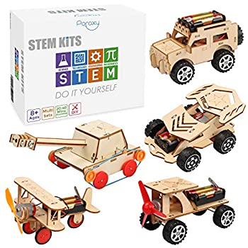 5 in 1 STEM Kit Wooden Mechanical Model Cars Kits Motorized Construction Engineering Set Assembly Constructor 3D Building Blocks Educational DIY STEM Toys for Boys and Girls
