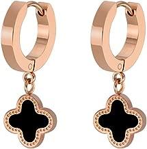 León Jewelry Four-leaf Clover Lucky Hoop Huggie Earrings Black Onyx Dangle Drop Stainless Steel