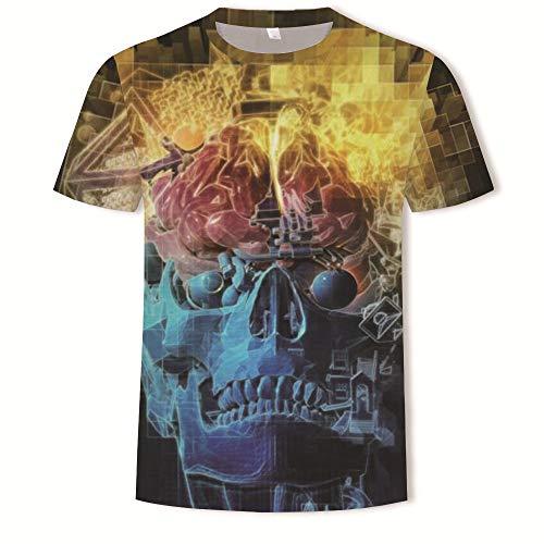 Men's 3D Cool Skull Print Graphic T Shirts Couples Summer Crewneck Short Sleeve T-Shirts Casual Tees Dd128 XL