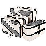Bagail 6 Set Packing Cubes,3 Various Sizes Travel Luggage Packing Organizers (Beige)