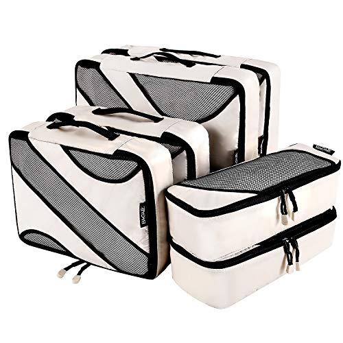 Bagail 6 Set Packing Cubes,3 Various Sizes Travel Luggage Packing Organizers(Beige)