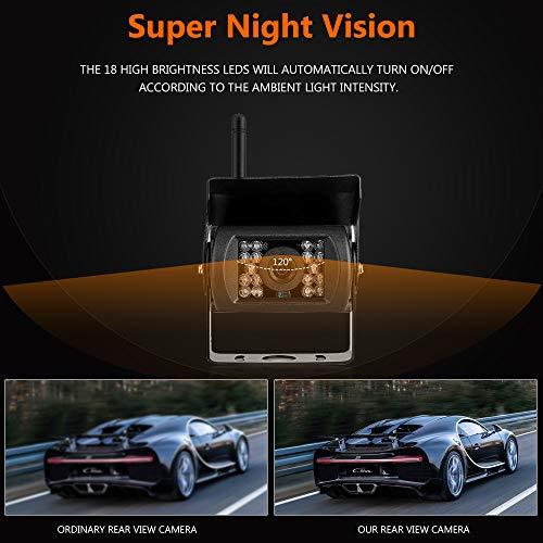 Caméra de Recul sans Fil Kit 7 Pouces HD TFT LCD Moniteur 2 x Signal Numérique Stable Caméras de Sauvegarde Etanche IP67 avec 18 LCDs Moniteur et Super Vision Nocturne pour Camion RV Bus