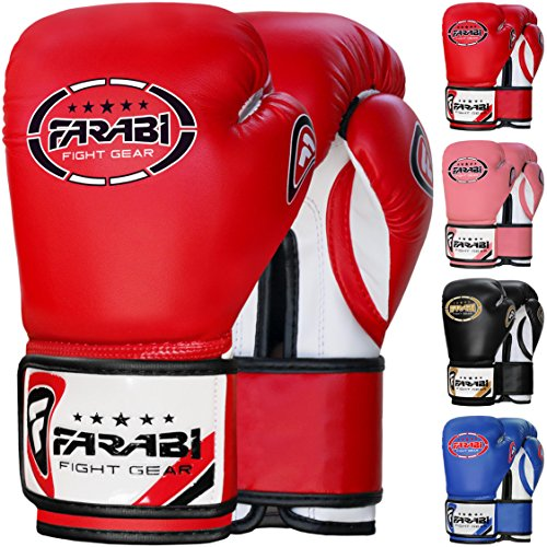 Farabi Kinder Boxhandschuhe 227 g / 227 g Boxhandschuhe Sparring Trainingstasche Handschuhe für Boxen, Sparring, Training, Training, rot, 8-oz