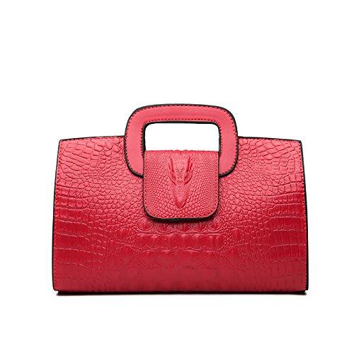 Tisdaini® Damenhandtaschen Mode Kroko Prägung Schultertaschen PU Leder Shopper Umhängetaschen Rot