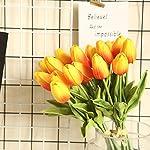 lohas home artificial tulips pu real touch 36 pcs faux tulip flowers arrangement bouquet for wedding party home decor (orange)