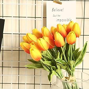lohas home artificial tulips pu real touch 36 pcs faux tulip flowers arrangement bouquet for wedding party home decor (orange) silk flower arrangements
