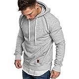 Herren Sweatshirt Kapuzenpullover Pullover Hoodie Hoher Kapuzenansatz Känguru-Tasche Gerippte Ärmel und Abschlussbündchen Sweatjacke Casual Streetwear Basic Style, Hellgrau, M