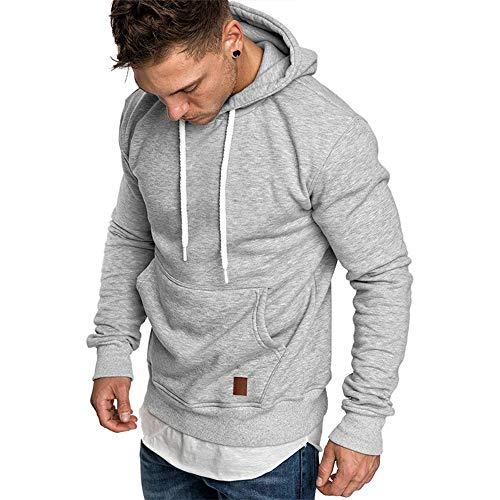 SELENECHEN Herren Sweatshirt Kapuzenpullover Sweatjacke Pullover Hoodie Sweat Hoody Sweatshirt Herren Pullover (Grau, L)