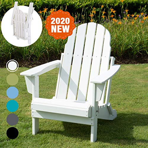 LAYRIAR HDPE Plastic/Resin Foldable Outdoor Adirondack Chair for Patio Deck Garden, Backyard & Lawn Furniture (White)