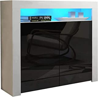 Concept Muebles MILANO Sideboard 2D - Two High Gloss finish doors and one upper shelf with modern LED illumination (White & Black)