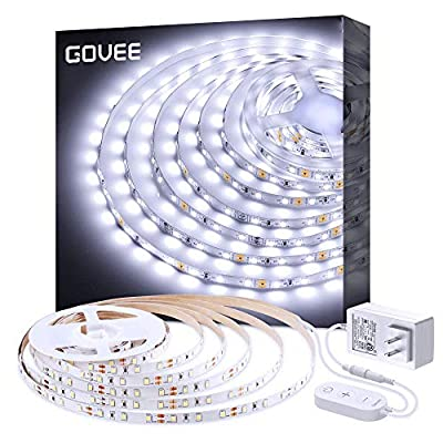 White LED Strip Lights, Govee Upgraded 16.4ft Dimmable LED Light Strip 6500K Bright Daylight White, Strong 3M Adhesive, 300 LEDs Flexible Tape Lights for Mirror Under Cabinet Bedroom