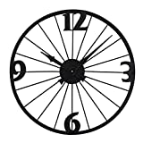GJP Reloj de Pared de 20'/ 24' Redondo de Gran tamaño Estilo Antiguo decoración del hogar Reloj de Metal analógico Interior silencioso Funciona con Pilas Metal casa de Campo Reloj de Pared Deco