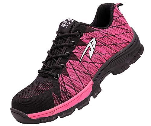 Eagsouni Sicherheitsschuhe Herren Damen Arbeitsschuhe S3 Leicht Atmungsaktiv Schutzschuhe Stahlkappe Schuhe Industrie Sneaker, A Pink, 40 EU