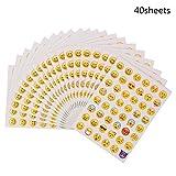 BOSSTER Adesivi Emoji 40 Fogli Adesivo Emoticon Adesivo Piccolo per Ridere Giallo per Pare...
