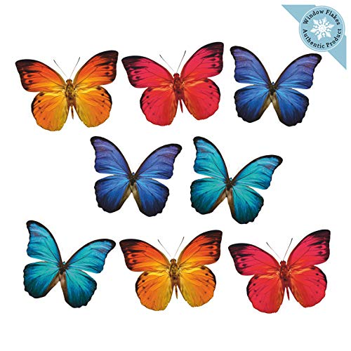 8 Large Butterfly Window Clings for Glass Windows and Doors | Window Decals for Birds Strikes | Anti Collision Window Stickers Decor | Decorative Butterflies Window Decals for Sliding Glass Doors