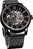 QHG Relojes mecánicos Negros de Moda analógica Transparentes para Hombres Reloj de Esqueleto de Acero Inoxidable Minimalista