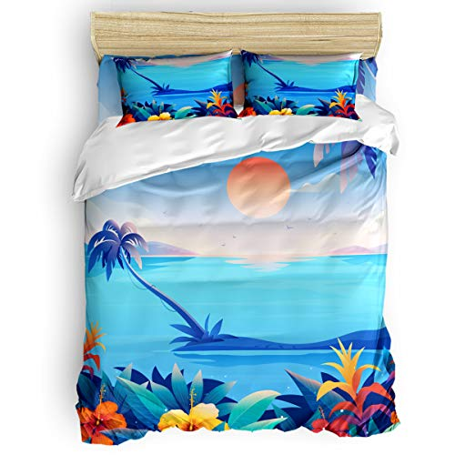 Big buy store Sunset Blue Sea 4 Piece Duvet Cover Set Cartoon Coconut Tree Flower Bed Sheets Quilt Cover for Kids/Adults Bedroom Decoration Full Size