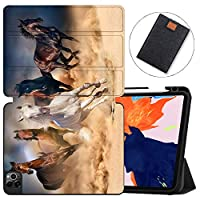 MAITTAO Case For New iPad Pro 12.9 inch 4th Generation 2020 with Apple Pencil Holder, Soft TPU Back Stand Smart Cover with Auto Sleep/Wake, Support iPad Pencil Wireless Charging, Akhal-Teke Horse 13