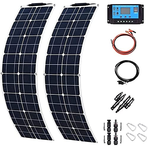 Solar Panel 400W 2X 200W PET Flexible Solar Panel Portable Mono Solar Battery Charger with Controller for Car Yacht...