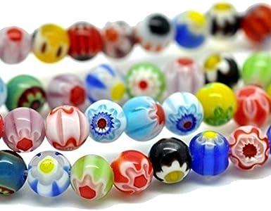 Perlin MILLEFIORI Perlas de cristal, 6 mm, redondas, hechas a mano, 65 unidades, multicolor, 1 cuerda, colores variados D7A