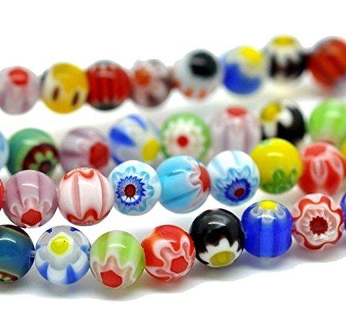 Perlin MILLEFIORI Perle GLASPERLEN 6mm RUND Handgearbeitete Kugel 65stk Mehrfarbig 1 Strang BUNT Mix Farben D7A