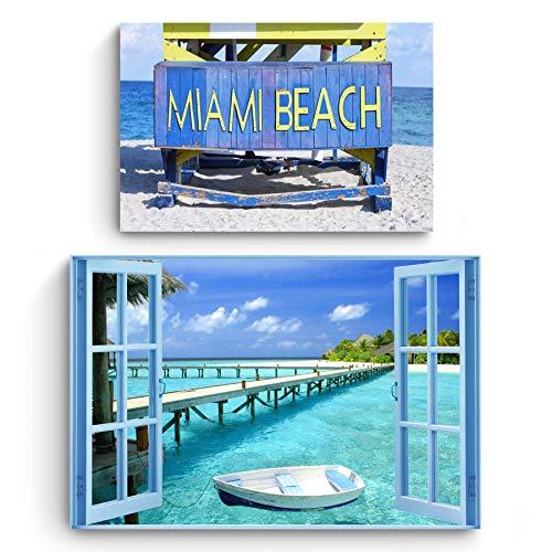 Startonight Cuadro en Lienzo | Playa | Ventana al Paraíso y Miami Beach | Compre uno y Obtenga Dos