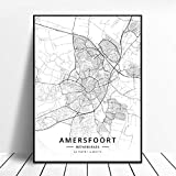 zhuifengshaonian Póster Almere Alkmaar Arnhem Amersfoort Haarlem Utrecht Zwolle Países Bajos Mapa (ZW-1842) Sin Marco Poster 40x60cm