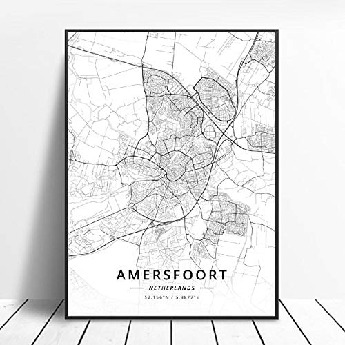 Almere Alkmaar Arnhem Amersfoort Haarlem Utrecht Zwolle Netherlands Map Poster (ZW-1842) Geen frame poster 40x60cm