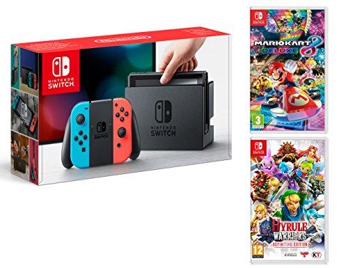 Nintendo Switch Rouge/Bleu Néon 32Go Pack + Mario Kart 8 Deluxe + Hyrule Warriors: Definitive Edition