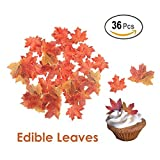 GEORLD Set of 36 Edible Fall Leaves Gold Leaf Cake Decorations, Party Cupcake Topper...
