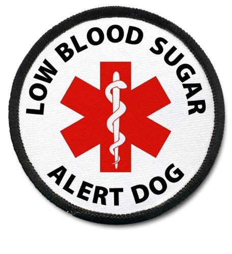 RED LOW BLOOD SUGAR ALERT DOG Black Rim Medical Alert 2.5 inch Sew-on Patch