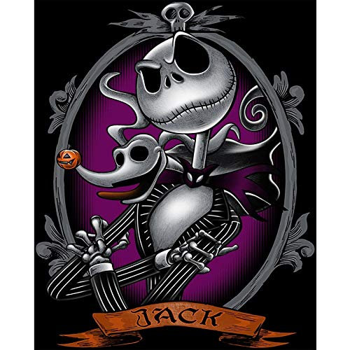 ANnjab 5d Diy Diamond Embroidery Jack Halloween skulls Diamond Painting Cross Stitch Picture By number Mosaic Wedding decoration square 40x60cm
