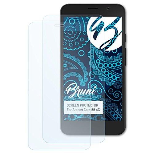 Bruni Schutzfolie kompatibel mit Archos Core 55 4G Folie, glasklare Bildschirmschutzfolie (2X)