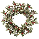 YNYLCHMX Artificial Wreath for Front Door, Door Wreath Flushed with Holly Leaves with Red Berry, Home Decor for Indoor, Windows, Wall, Fireplace, Holiday, Party Decoration, 20 Inch