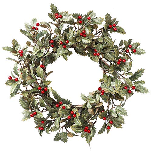 YNYLCHMX Christmas Wreath for Front Door, Artificial Door Wreath Flushed with Holly Leaves with Red Berry, Home Decor for Indoor, Windows, Wall, Fireplace, Holiday, Party Decoration, 20 Inch