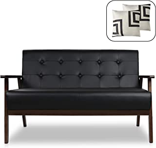 2 seater sofa black faux leather