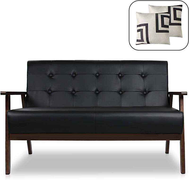Mid Century Modern Solid Loveseat Sofa Upholstered Fabric Couch 2 Seat Wood Armchair Living Room Outdoor Lounge Chair 50 W