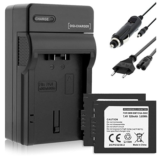 2 Akkus + Ladegerät (KFZ, Netz) kompatibel mit Panasonic S002 / Lumix FZ1, FZ2, FZ3. FZ15, FZ20 - Siehe Liste